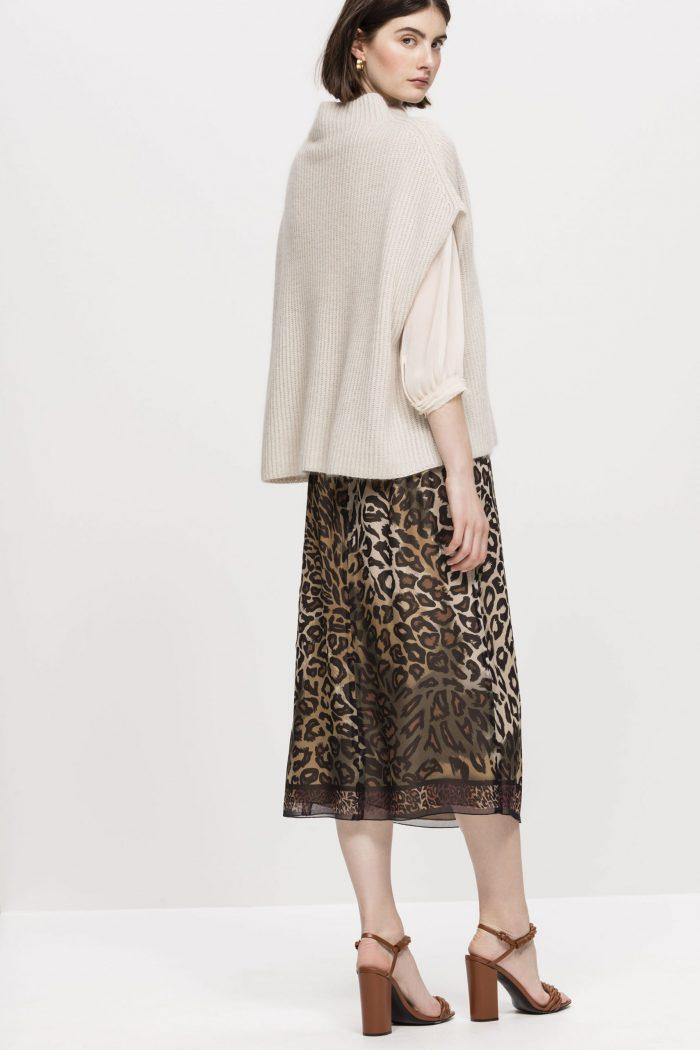 Luisa Cerano Midi Skirt with Animal Print